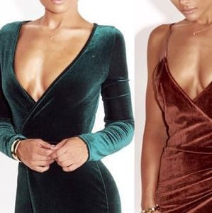 JLUX LABEL Green Velvet Dress